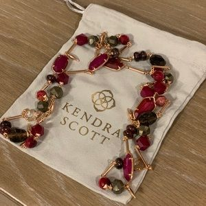 Kendra Scott Ruth Necklace - Rose Gold and Maroon